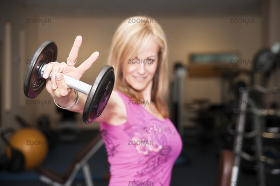 Vera with dumbbells