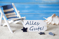 Summer Label With Deck Chair, Alles Gute Means Best Wishes