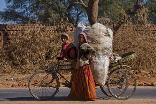 indisches Geschwisterpaar tranportiert Plastikmüll auf einer Rischka - indian sibpair to transport