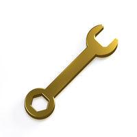 Wrench Tool. 3D Gold Render Illustration