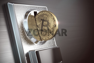 Pay by bitcoin concept. BItcoin coin and coin acceptor.