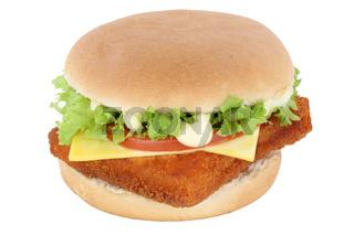 Fischburger Fisch Burger Backfisch Hamburger Käse Tomaten Salat Freisteller freigestellt isoliert