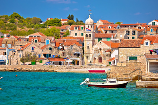 Prvic Sepurine waterfront and stone architecture view