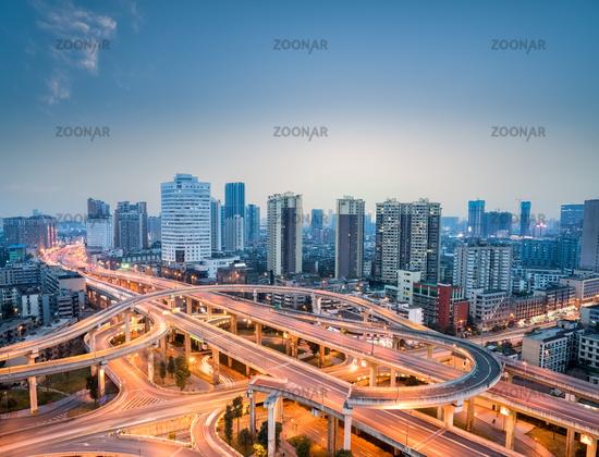 city interchange in nightfall