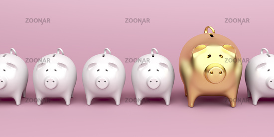 Row with piggy banks on pink background