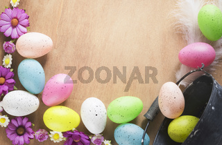 Colorful flowers and Easter eggs