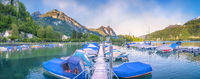 Long pontoon with moored boats in Switzerland