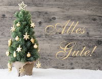 Golden Decorated Christmas Tree, Alles Gute Means Best Wishes