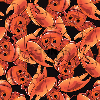Boiled Lobster Seamless Pattern