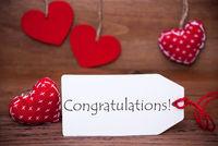 Read Hearts, Label, Text Congratulations