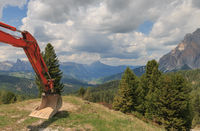 Panoramic view of Val Badia with a shovel