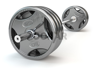 Barbell isolated on white background.