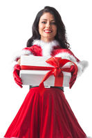 Santa Claus woman with gift