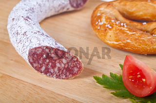 closeup of a salami sausage
