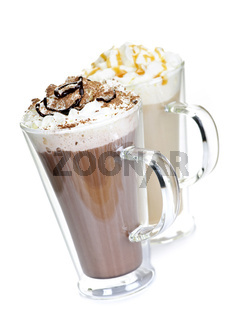 Hot chocolate and coffee beverages