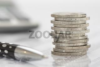 Finanzen Euro Münzen und Rechner