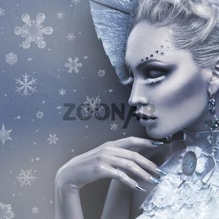 Closeup portrait of winter queen