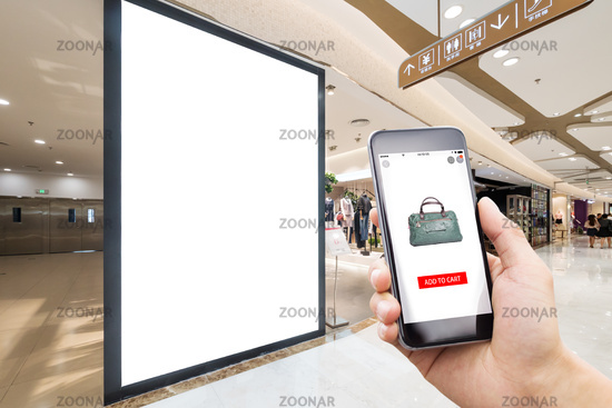 smart phone with modern shopping mall