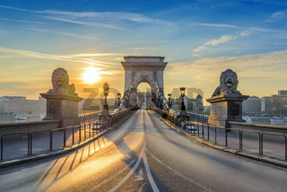Chain Bridge when sunrise, Budapest, Hungary