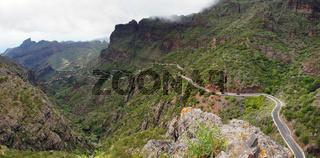 Narrow road thru Masca Canyon