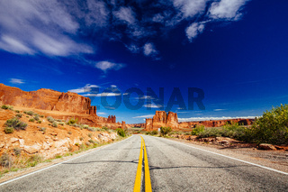 Road through Arches National Park, Utah, USA