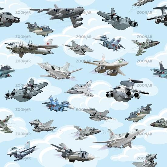 Cartoon warplanes seamless pattern