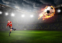 player is kicking ball
