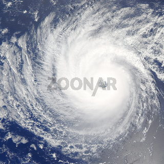Huge hurricane over Pacific Ocean. Satellite photo.