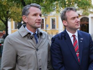 Björn Höcke (Landesvorsitzender AfD Thüringen) und  Andre Poggenburg ( Landesvorsitzender AfD Sachsen-Anhalt ) auf der Wahlkampfveranstaltung am 12.09.2017 in Magdeburg