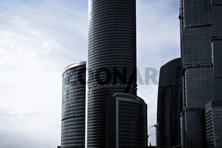 Grey skyscrapers business centre in Moscow