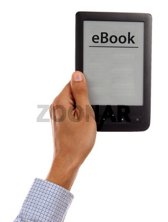 Hand holding e-book reader isolated on white background
