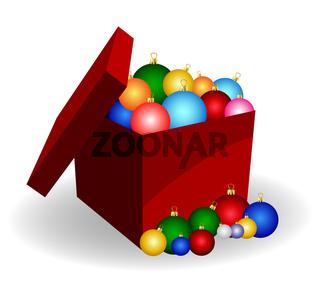 geschenkbox mit weihnachtskugeln