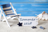 Summer Label With Deck Chair, Sommerzeit Means Summertime