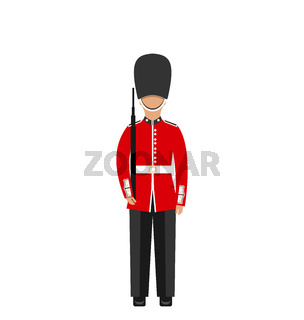 Queen's Guard. Man in Traditional Uniform with Weapon, British Soldier