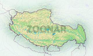 Tibet , Reliefkarte.