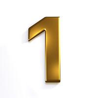 Gold Number 1. 3D Render Illustration