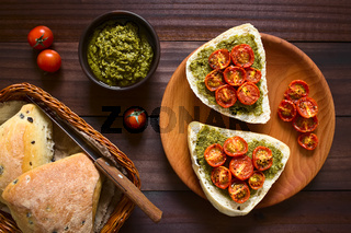 Bread Roll with Pesto and Roasted Tomato