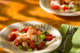 Shrimp salad with squid tomatoes and celery