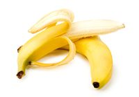 Two ripe banana on white background