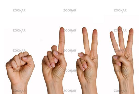 Zählende Finger: von null bis drei