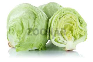 Eisbergsalat Salat geschnitten frisch Gemüse Freisteller freigestellt isoliert
