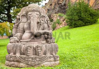 Ganesha statue in a beautiful mountain garden