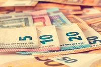 Close-up of various Euro banknotes