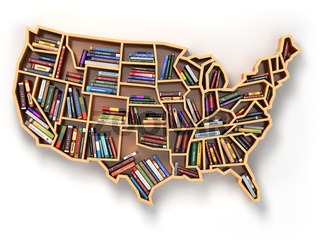 USA education or market of books concept. Book shelf  as map of USA.
