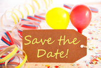 Party Label, Balloon, Streamer, Text Save The Date