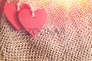 Hearts on canvas background