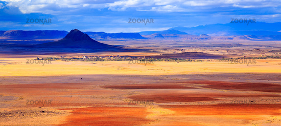 coloreful panoramic moroccan mountain landscape in desert