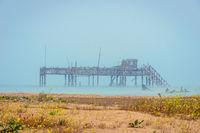 Old oil rig in Caspian Sea