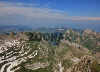 Arrival of summer in the Swiss Alps. View from Mount Santis towards Appenzell.