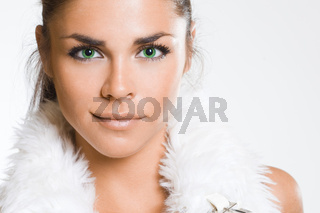 Sexy fashionable woman on white
